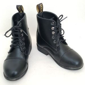 Saxon Youth Black Lace-up Combat Boots